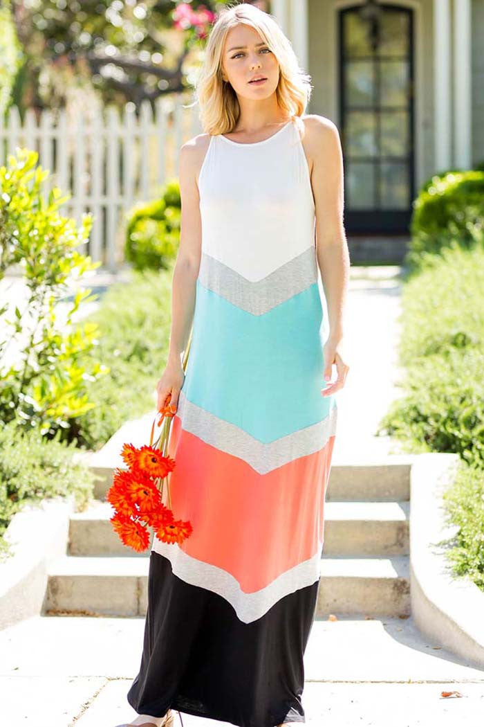 Color Block Maxi Dress - maxi - GOZON