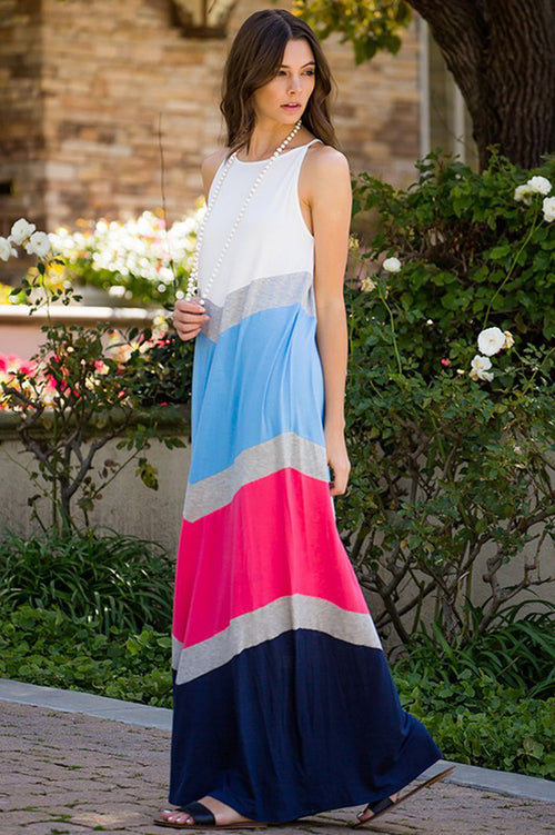 Color Block Maxi Dress : Coral/Navy