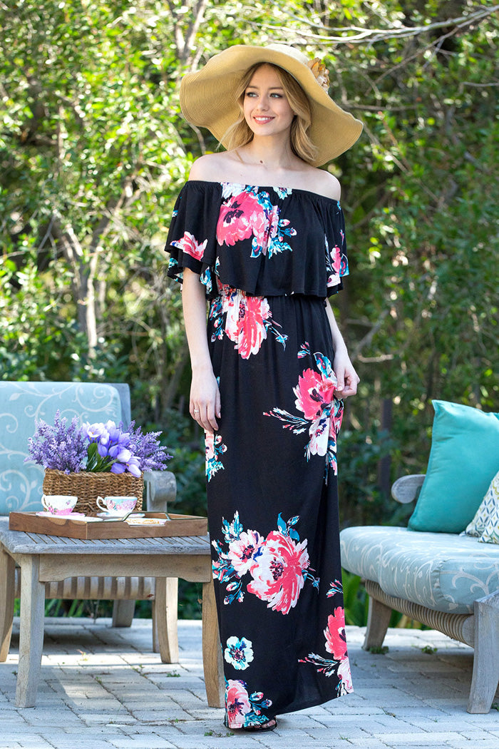 Romantic Floral Maxi Dress : Black