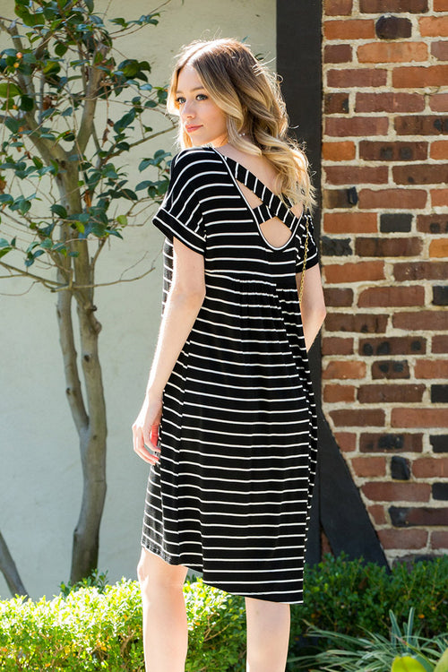 Stripe Midi Dress : Black/Ivory