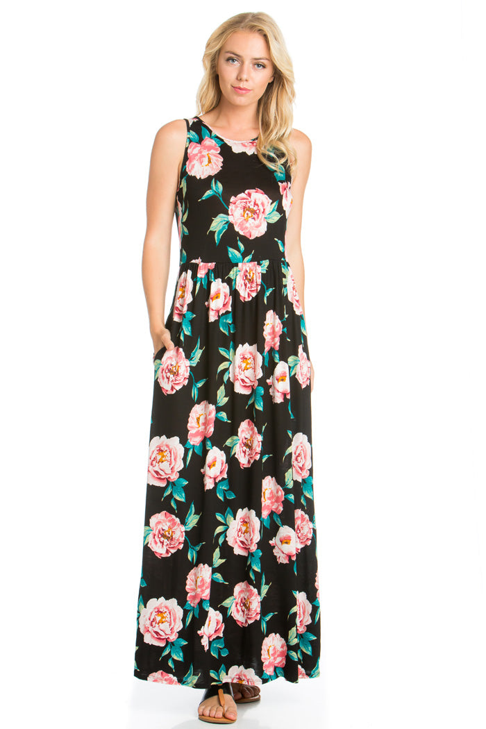 Romantic Mood Floral Maxi Dress : Black