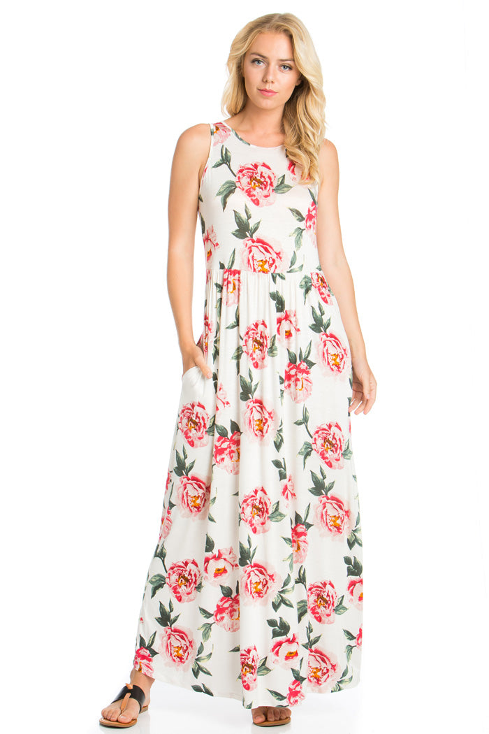 Romantic Mood Floral Maxi Dress : Ivory