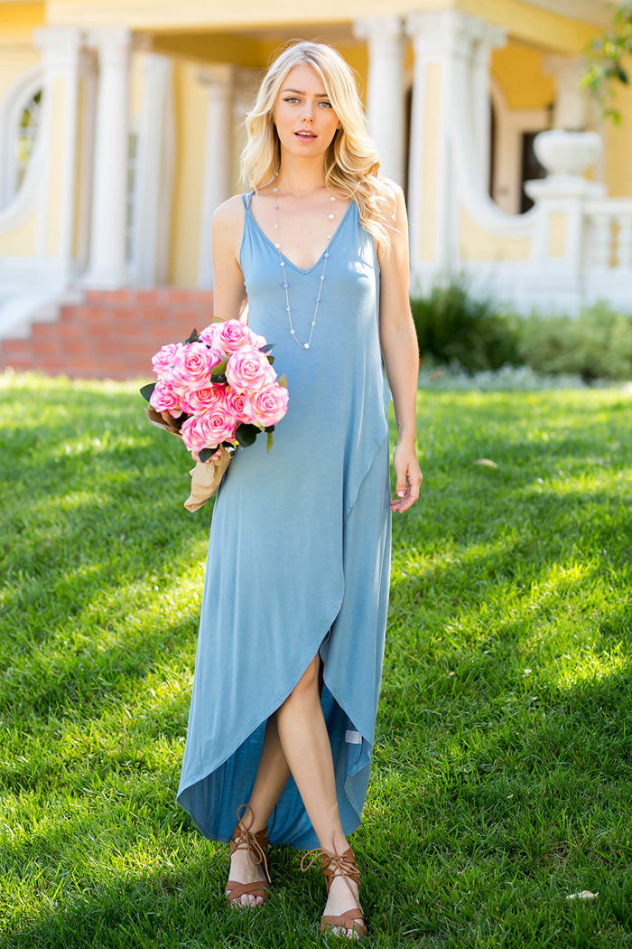 Solid Maxi Dress : Chambray