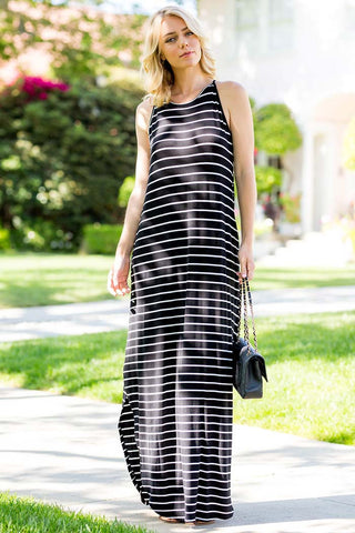 Stripe Off Shoulder Midi Dress