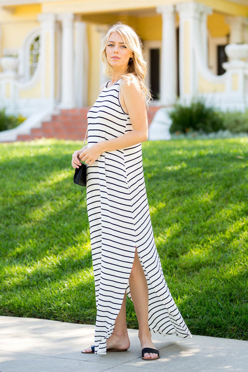 Casual Stripe Maxi Dress : Ivory/Black