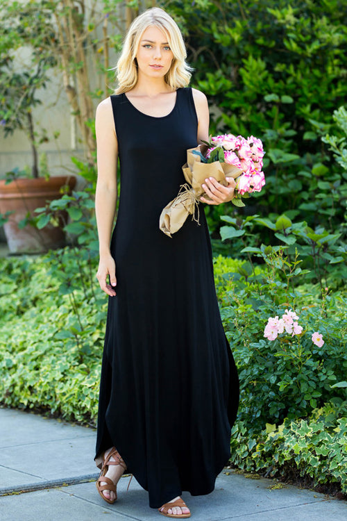 Simple Casual Maxi Dress : Black
