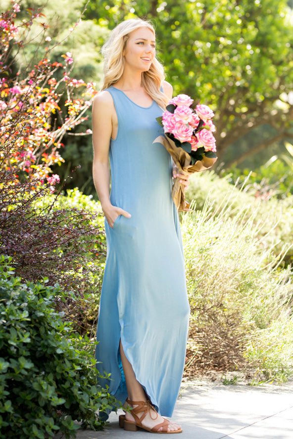 Simple Casual Maxi Dress : Chambray
