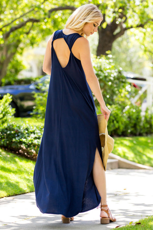 Simple Casual Maxi Dress : Navy