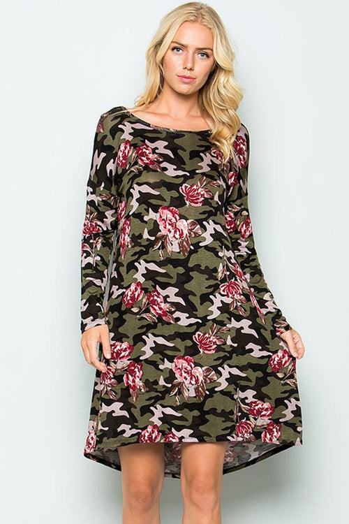 Camouflage X Floral Mini Dress