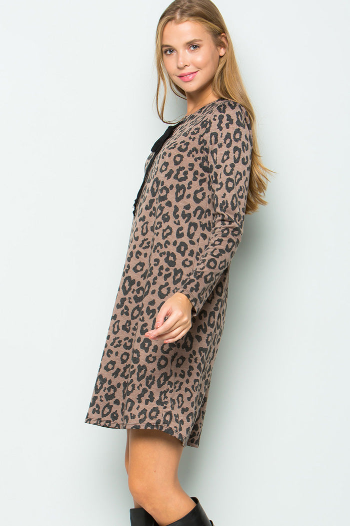 Animal with Lace Up Dress - Brown