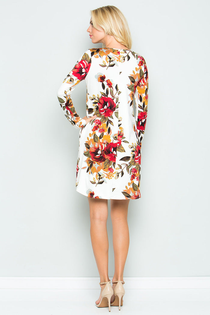 Delightful Floral Mini Dress - Ivory