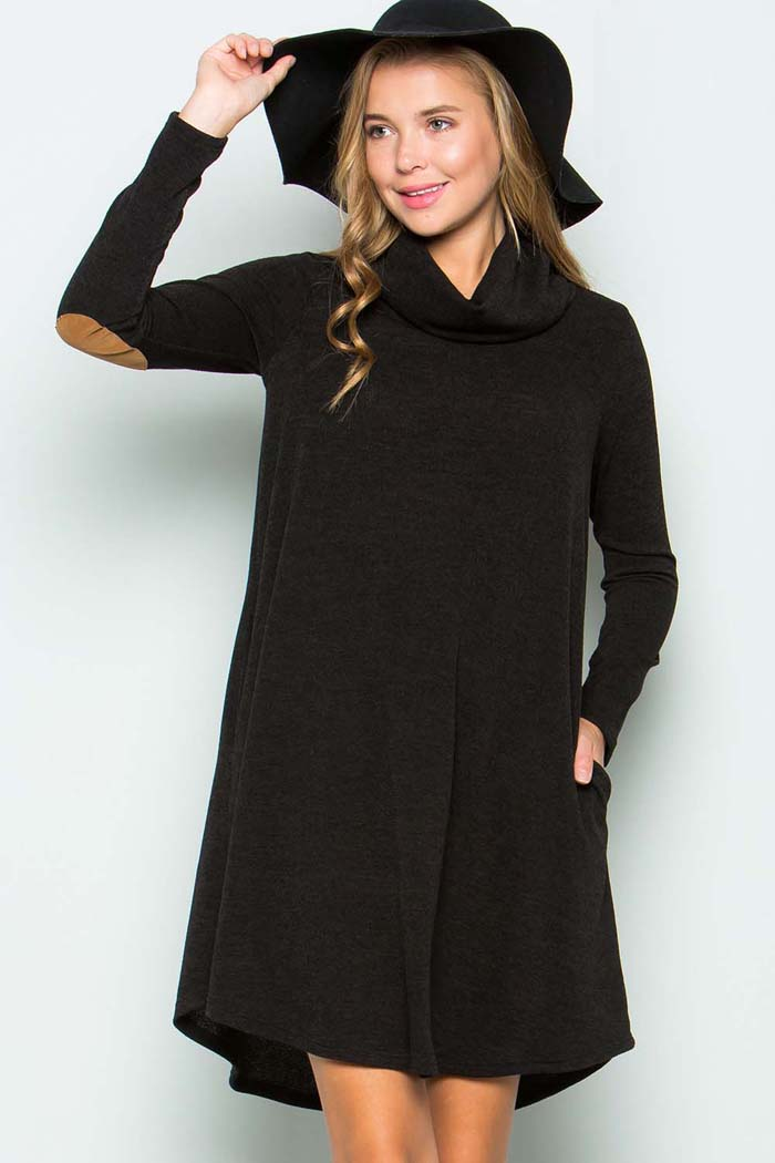 Turtle Neck Sweater Dress : Black