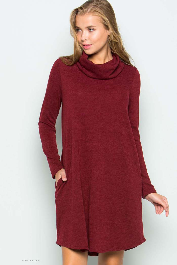Turtle Neck Sweater Dress :  Burgundy