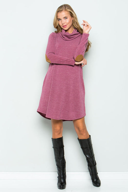 Turtle Neck Sweater Dress : Mauve