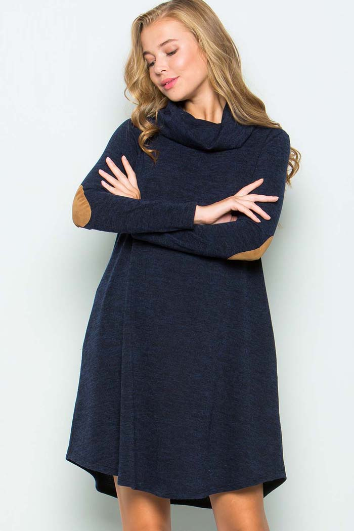 Turtle Neck Sweater Dress : Navy