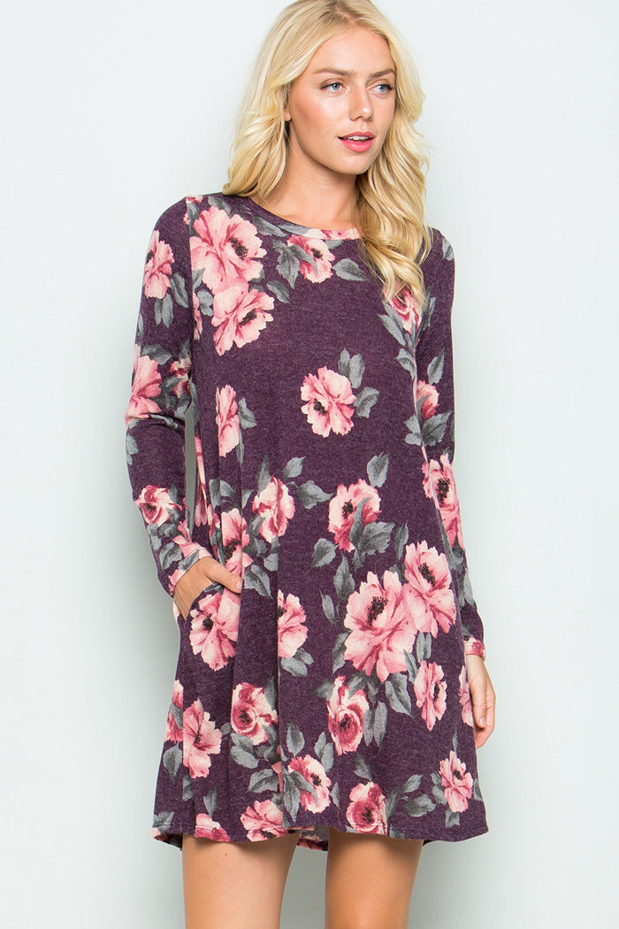 Blooming Mini Dress - Plum