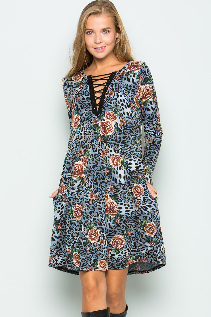 Animal & Floral Dress - Grey