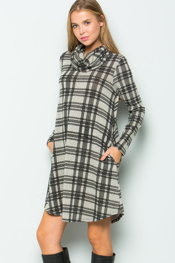 Sophia Turtleneck Plaid Dress : Grey/Black