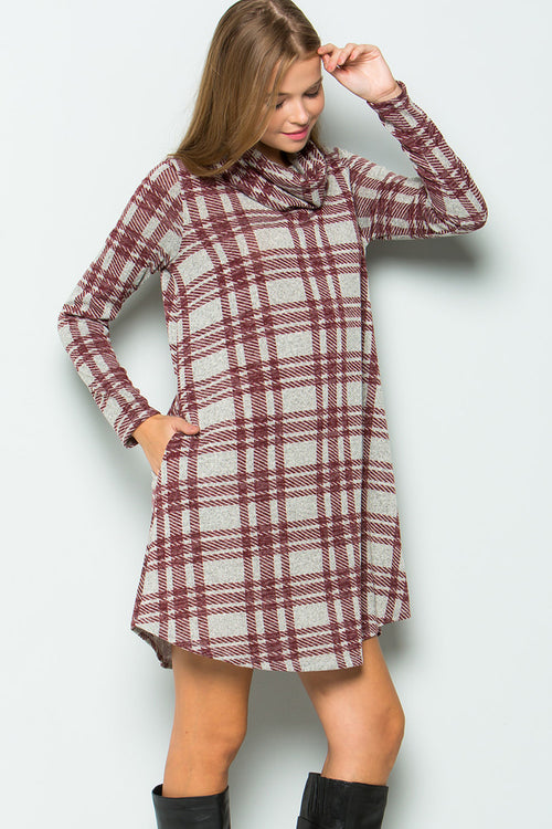 Sophia Turtleneck Plaid Dress : Grey/Burgundy