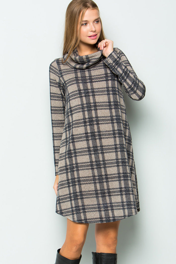 Sophia Turtleneck Plaid Dress : Mocha/Navy