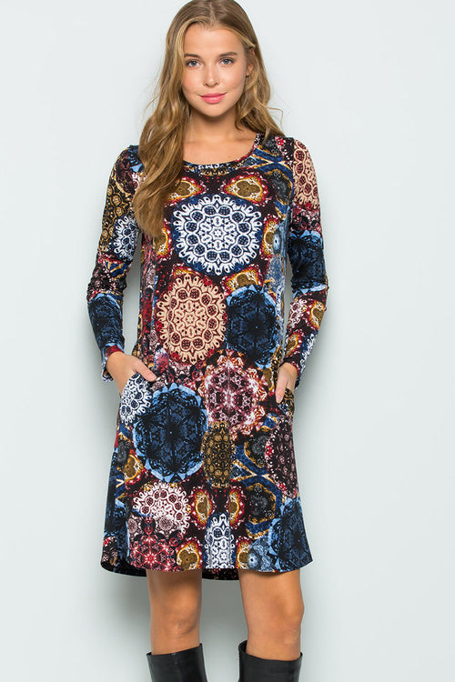 Alexa Medallion Midi Dress : Navy/Wine
