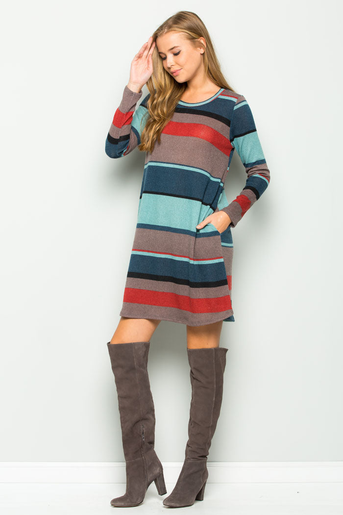 Sherry Stripe Sweater Dress : Teal mocha