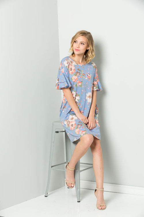 Madison Floral Midi Dress : Blue