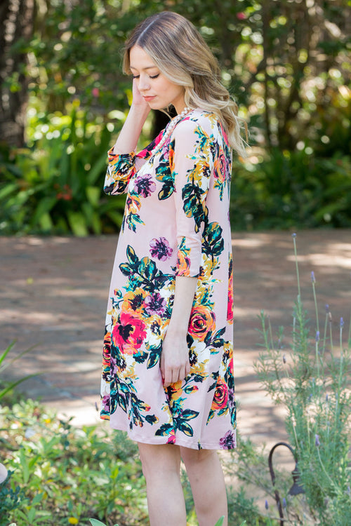 Sarah Floral Swing Dress : Blush