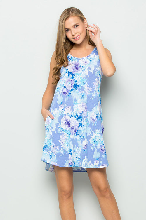 Tiffany Floral Swing Dress : Lavender