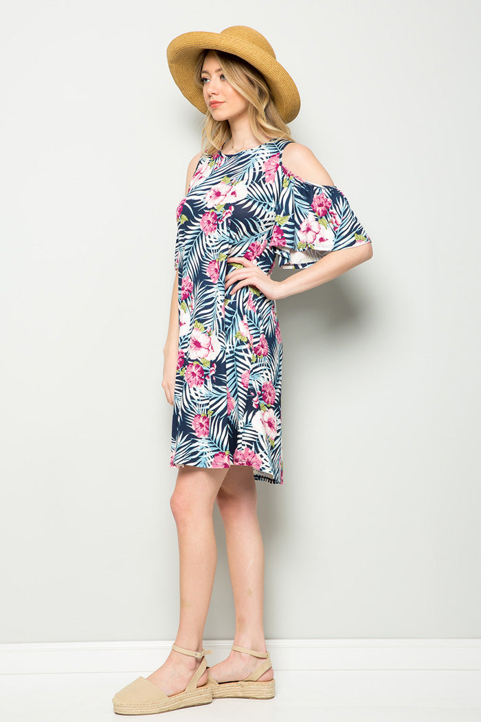 Eileen Tropical Midi Dress : Navy