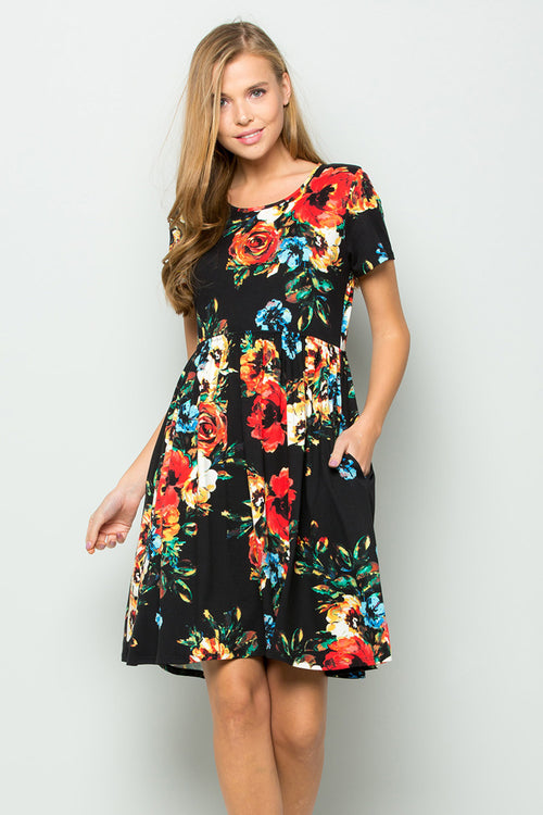 Wendy Floral Swing Dress : Black