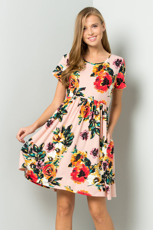 Wendy Floral Swing Dress : Blush