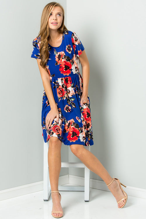Wendy Floral Swing Dress : Cobalt