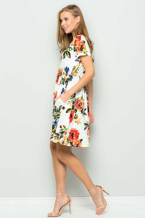 Wendy Floral Swing Dress : Ivory