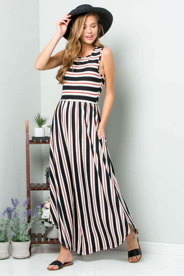 Alice Stripe Maxi Dress : Mauve