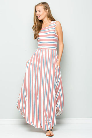 Hailey Stripe and Floral Maxi : Heather grey/Ivory