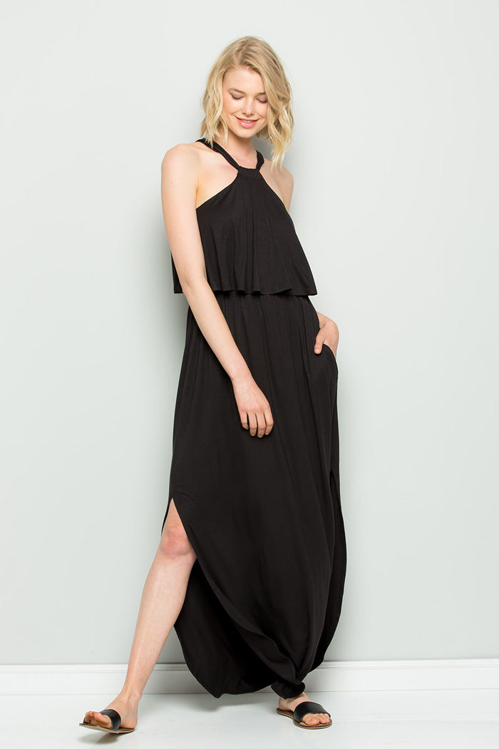 Vivian Halter Maxi Dress : Black