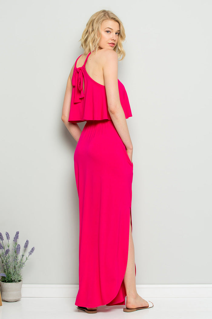 Vivian Halter Maxi Dress : Fuchsia
