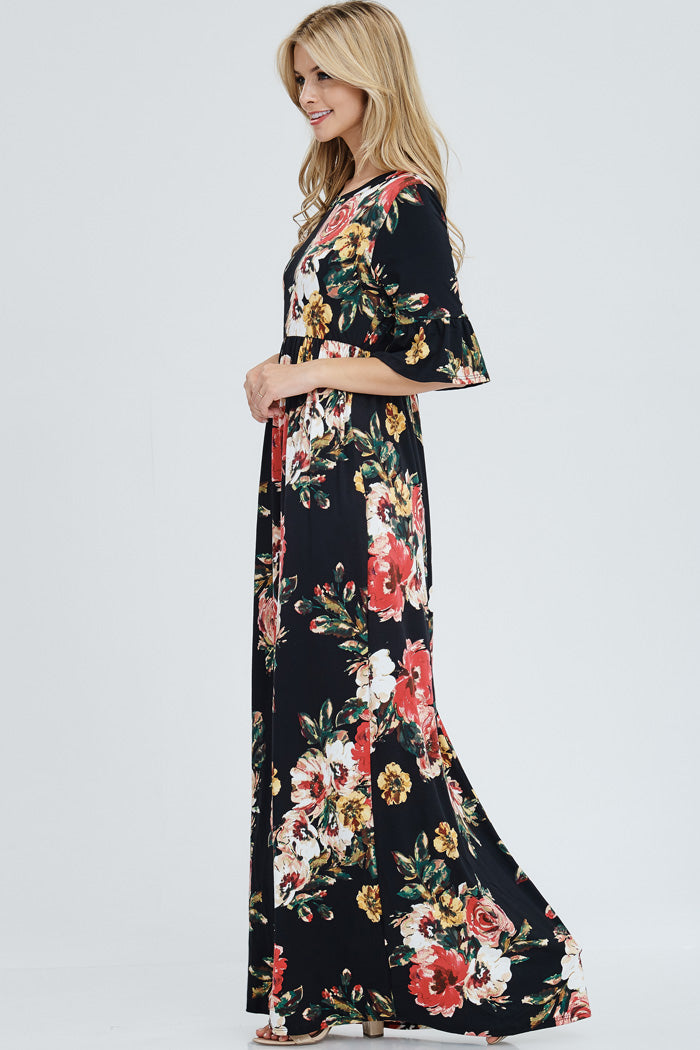 Gloria Floral Maxi Dress : Black