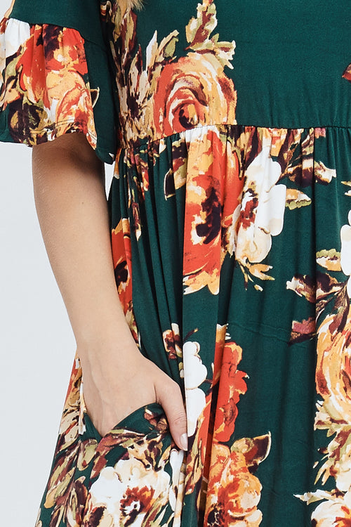 Gloria Floral Maxi Dress : Hunter Green
