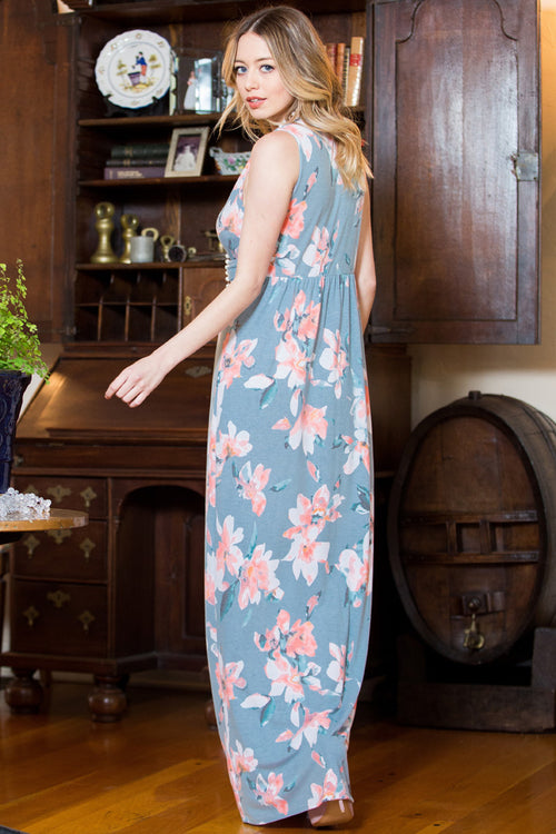 Courtney Front Knot Maxi Dress : Blue