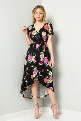 Esme Floral Wrap Dress : Black
