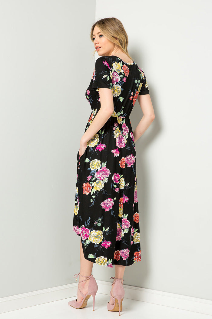 212423d503bc Esme Floral Wrap Dress   Black – GOZON Boutique
