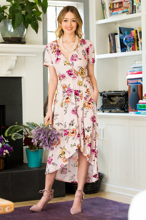 Esme Floral Wrap Dress : Mauve