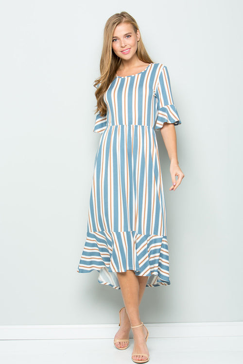 Sophia Stripe Ruffle Dress : Chambray