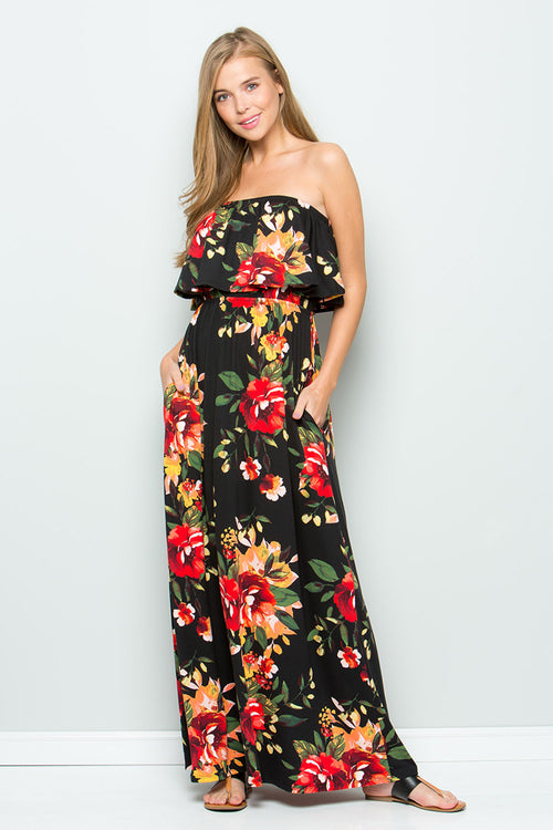 Stephanie Ruffle Tube Maxi : Black