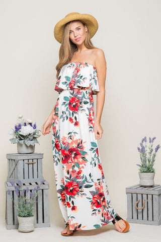Zoey Cold Shoulder Maxi : Navy/Fuchsia