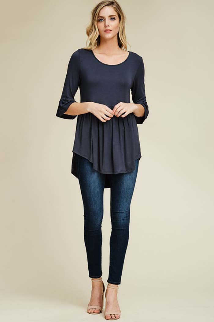 Cynthia Solid Hi-low Tunic Top : Slate