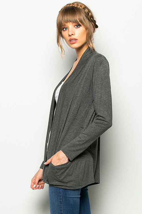 Solid Cardigan with Pockets : Heather charcoal