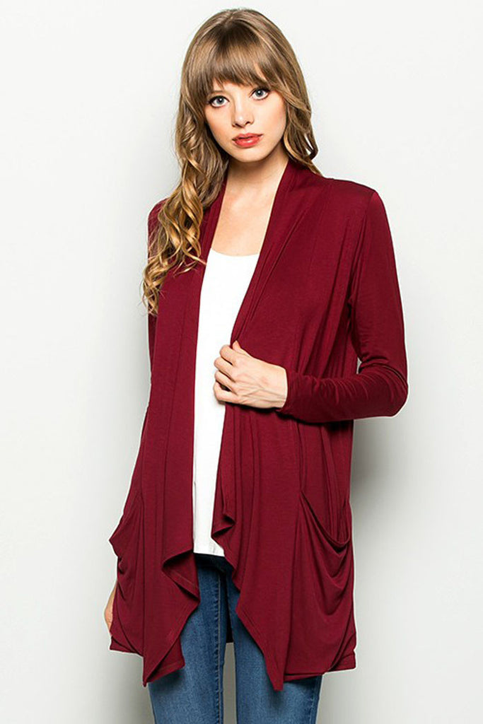 Open Front Draped Cardigan - Cardigans - GOZON